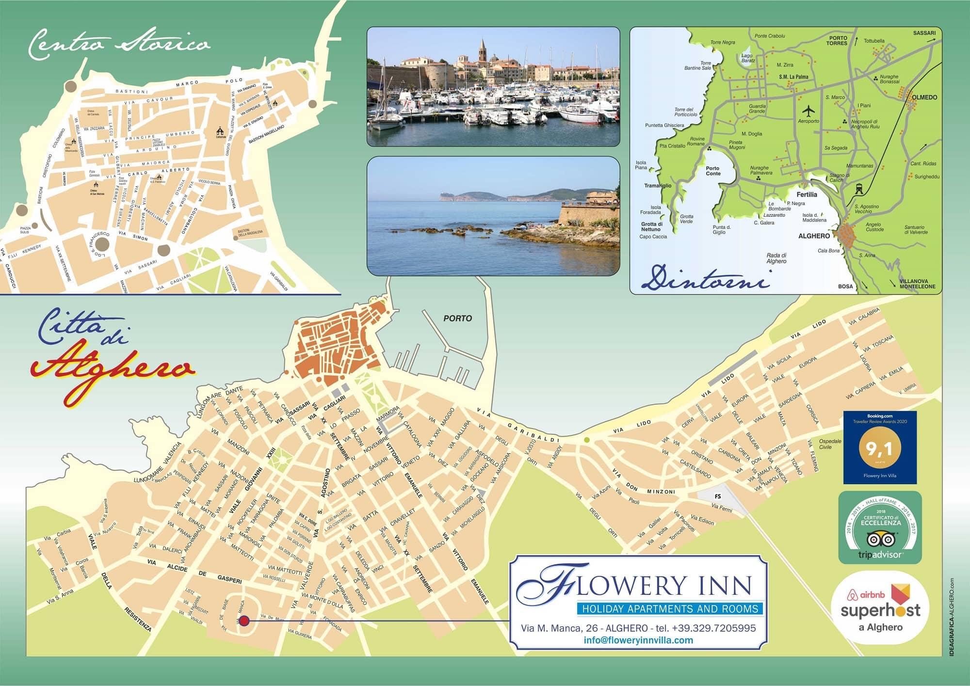 Cartina Sardegna Con Aeroporti.Flowery Inn Villa Alghero Sardegna Via M Manca 26